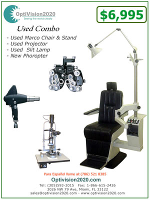 used ophthalmic combo chair and stand